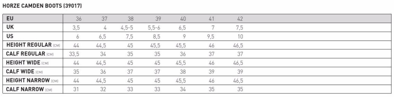 Tabela rozmiarów Camden Boots
